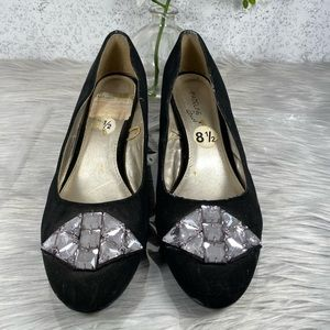 Madeline Stuart Black Flats with Crystal Accents